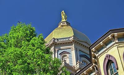 Photograph - Notre Dame Golden Dome Close Up by Dan Sproul