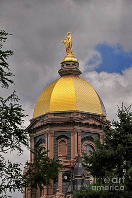 Photograph - Notre Dame Golden Dome Vertical by David Arment