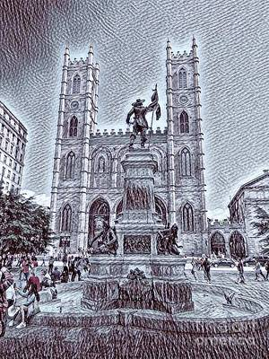 Montreal Streets Drawing - Notre Dame In Old Montreal by John Malone