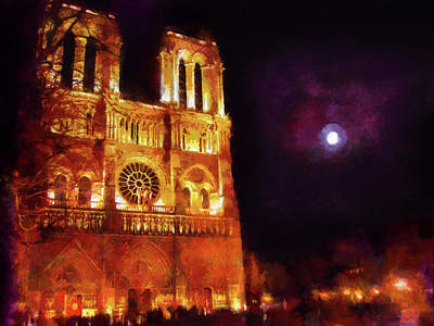 Painting - Notre Dame In The Autumn Moonlight by Menega Sabidussi