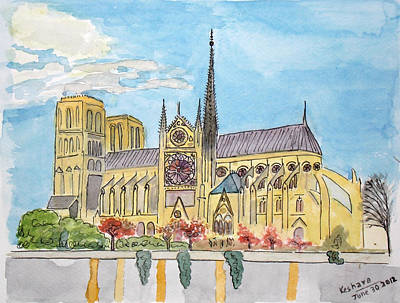 Watercolour Painting - Notre Dame by Keshava Shukla