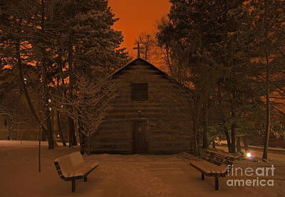 Photograph - Notre Dame Log Chapel Winter Night by John Stephens