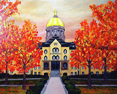 Painting - Notre Dame Main Building Golden Dome by Katy Hawk