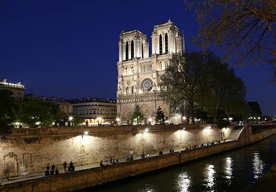 Photograph - Notre Dame Night 1 by Andrew Fare