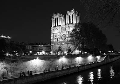 Photograph - Notre Dame Night 1bw by Andrew Fare