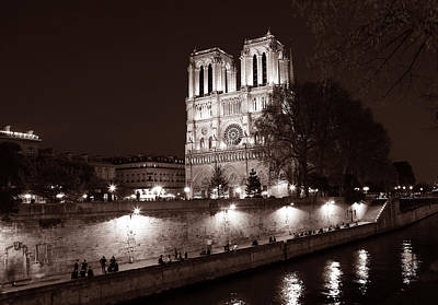 Photograph - Notre Dame Night 1s by Andrew Fare