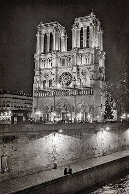 Notre Dame Photograph - Notre Dame Night Bw by Joan Carroll