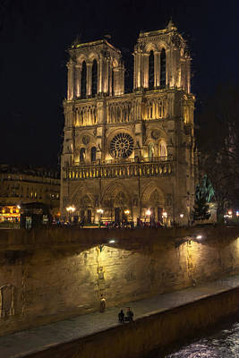 Seine River Wall Art - Photograph - Notre Dame Night Painterly by Joan Carroll