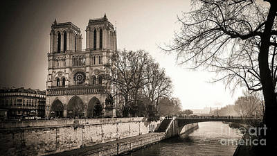 Bare Trees Photograph - Notre Dame Of Paris And The Quays Of The Seine. Paris. France. City by Bernard Jaubert