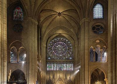 Photograph - Notre Dame On The Inside - 4 - Glass Windows by Hany J