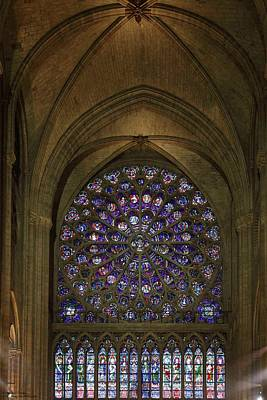 Photograph - Notre Dame On The Inside - 5 - North Rose Window  by Hany J