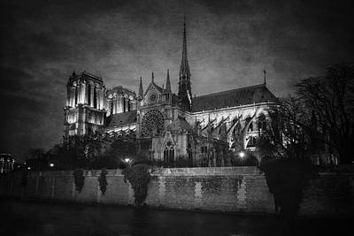 Notre Dame On The Seine Bw Art Print by Joan Carroll
