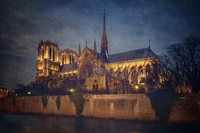 Notre Dame On The Seine Textured Art Print by Joan Carroll