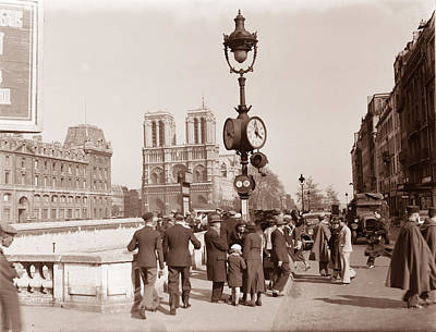 Photograph - Notre Dame Paris 1936 Sepia by Andrew Fare