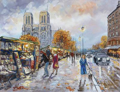 Evening Lights Painting - Notre Dame, Paris by Irek Szelag