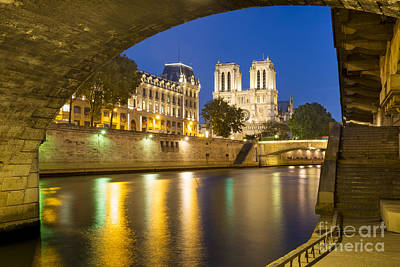 Photograph - Notre Dame - Paris Night View by Brian Jannsen
