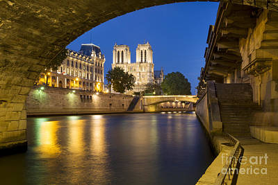 Photograph - Notre Dame - Paris Night View II by Brian Jannsen