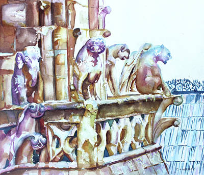 Painting - Notre-dame Sentinels by Christiane Kingsley