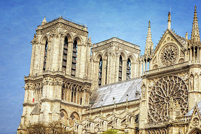 Notre Dame South Facade And Rose Window Art Print by Joan Carroll