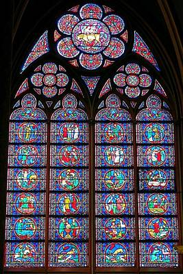 Photograph - Notre Dame Stained Glass Window by Betty Buller Whitehead