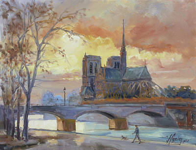 Sunset Painting - Notre Dame - Sunset, Paris by Irek Szelag