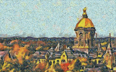 Painting - Notre Dame University Autumn Day by Dan Sproul