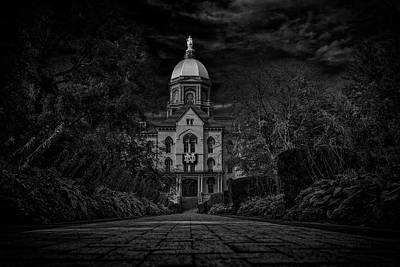 Photograph - Notre Dame University Golden Dome Bw by David Haskett