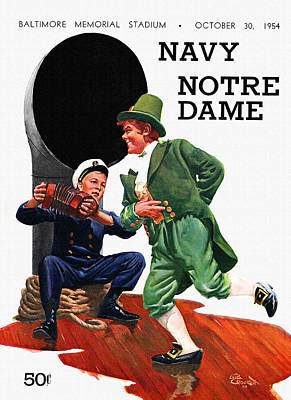 Notre Dame V Navy 1954 Vintage Program Art Print by Big 88 Artworks