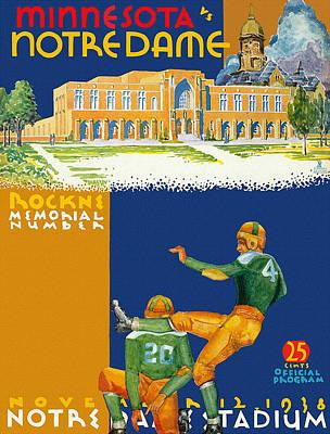 Leprechaun Painting - Notre Dame Versus Minnesota 1938 Program by Big 88 Artworks