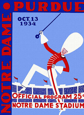 Leprechaun Painting - Notre Dame Versus Purdue 1934 Program by Big 88 Artworks