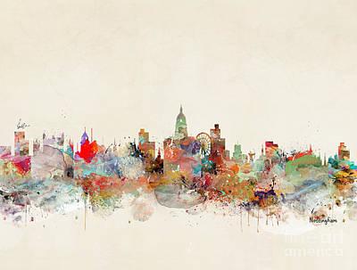 Painting - Nottingham City Skyline by Bri B