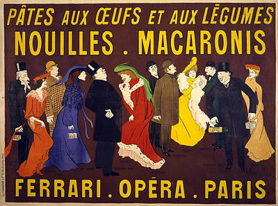 Mixed Media - Nouilles Macaronis - Noodles - Ferrari Opera, Paris - Vintage Advertising Poster by Studio Grafiikka