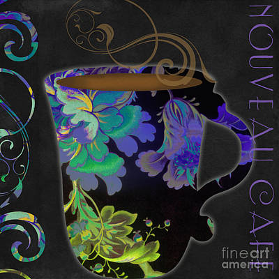 Fabric Art Painting - Nouveau Cafe Cool by Mindy Sommers