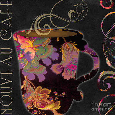 Fabric Art Painting - Nouveau Cafe Warm by Mindy Sommers