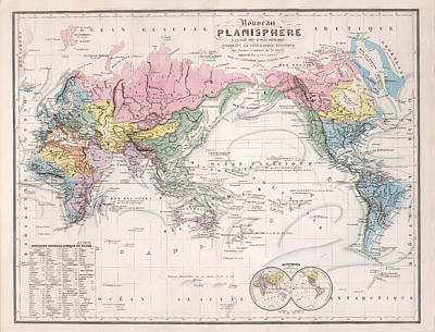 Old World Vintage Cartographic Maps Wall Art - Drawing - Nouveau Planisphere - Map Of The World - Geographical And Physical Map by Studio Grafiikka