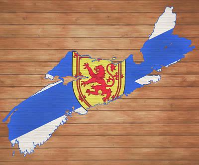 Mixed Media - Nova Scotia Rustic Map On Wood by Dan Sproul