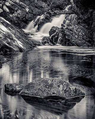 Photograph - Nova Scotia Waterfall 1 Bw by Trevor Kennedy