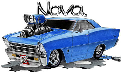 Chevy Drawing - Nova Toon by Lyle Brown