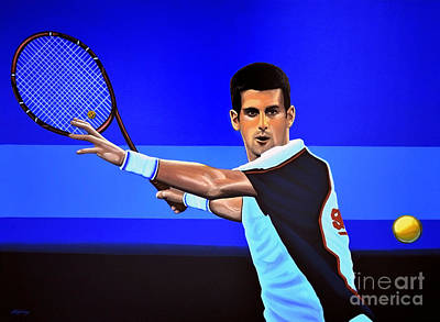 Action Portrait Painting - Novak Djokovic by Paul Meijering
