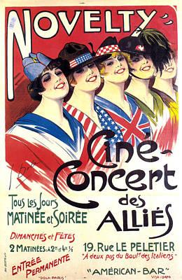Mixed Media - Novelty, Cine Concert Des Allies - Events - Vintage Advertising Poster by Studio Grafiikka