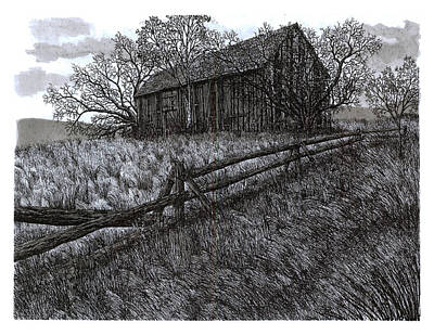 Old Barn Pen And Ink Drawing - November At The Farm by Jonathan Baldock
