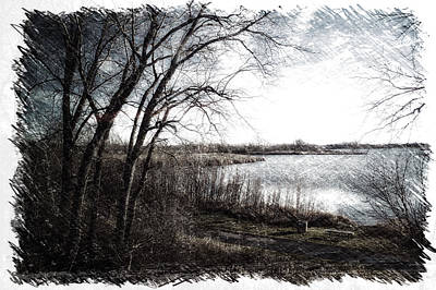 Park Scene Mixed Media - November By The Walking Path Pa 01 by Thomas Woolworth