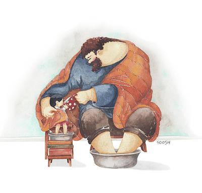 Illustration Drawing - November Cuddles by Soosh