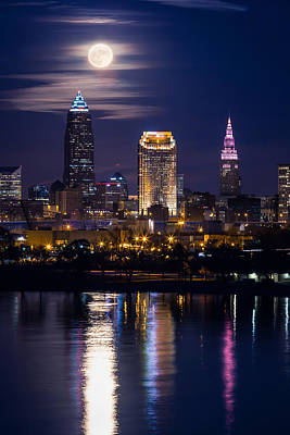 Photograph - November Moon In Cleveland by Dale Kincaid