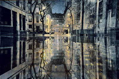 Paris Skyline Royalty-Free and Rights-Managed Images - November Rain in Paris by Evie Carrier