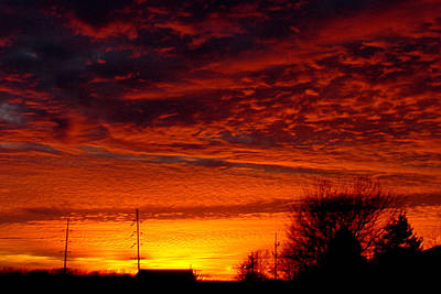 Illinois Farm Land Photograph - November Sunset by Dave Clark