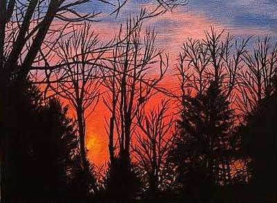 Painting - November Sunset by Therese Legere