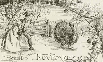 Turkey Drawing - November   Vintage Thanksgiving Card by American School