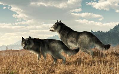 Digital Art - November Wolves by Daniel Eskridge