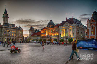 Photograph - Novi Sad Liberty Square At Twilight by Jivko Nakev